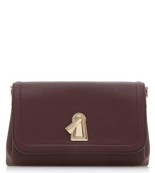 Dune London Berry Plain Synthetic Enzie Flap Clutch