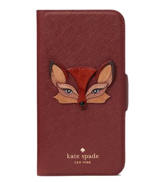 Kate Spade Multicolor Fox Applique Folio Iphone X Case