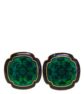 Cuffcare Green Sterling Silver Cufflinks