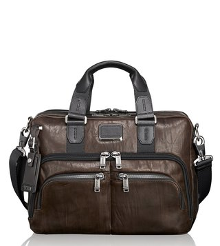 Tumi Dark Brown Alpha Bravo Albany Slim Commuter Leather Briefcase