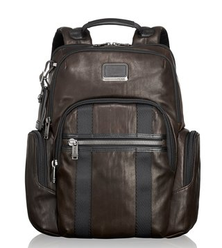 Tumi Dark Brown Alpha Bravo Nellis Leather Backpack