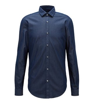 BOSS Dark Blue Rikki Slim Fit Shirt