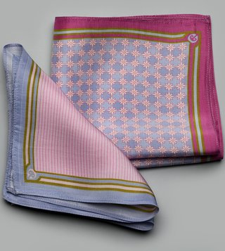 Turban Trunks Blue & Pink Geometria Crystal Cloud Silk Pocket Squares - Pack Of 2