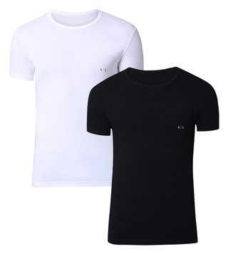 040feb5f1 Armani Exchange Black & White Classic Crew Neck Logo T-Shirt - Pack ...