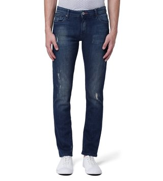 Armani Exchange Denim Indigo Skinny Fit Shredded Knee Patch Jeans