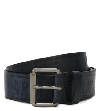 Armani Exchange Navy Embossed Bicolor Logo Belt