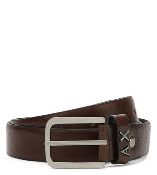 Armani Exchange Dark Brown Metal Logo Loop Belt