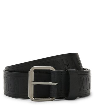 Armani Exchange Nero Embossed Bicolor Logo Belt