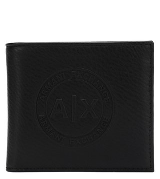 Armani Exchange Nero Textured Leather Logo Plate Wallet