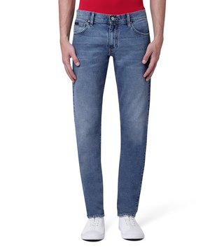 Armani Exchange Denim Indigo Straight Fit Mid Rise Whiskered Jeans