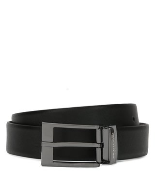 Armani Exchange Black & Brown Reversible Textured Belt
