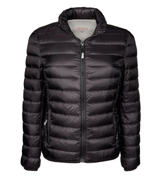 Tumi Black Clairmont Packable Travel Puffer Jacket