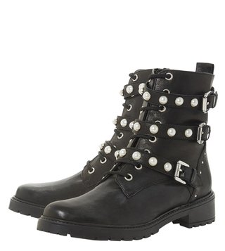 Dune London Black Risky Biker Boots