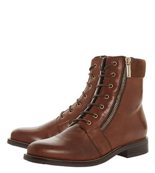 Dune London Dark Tan Quad Booties