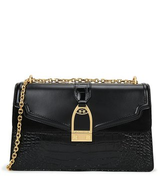 La Martina Black Portena Croco Shoulder Bag