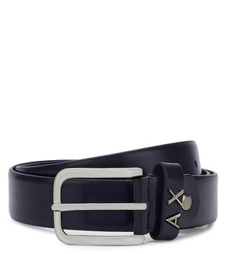 Armani Exchange Navy Metal Logo Loop Belt
