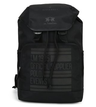 La Martina Black Maserati Large Backpack