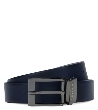 Armani Exchange Navy & Grey Reversible Textured Belt