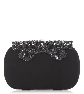 1ace2826fd9 Dune London Black Estella Medium Chain Handle Studded Minaudiere Clutch ...