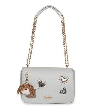 2ff3e77a39 Love Moschino Grigio Borsa Grain Medium Chain Handle Embellishment Studded Shoulder  Bag ...