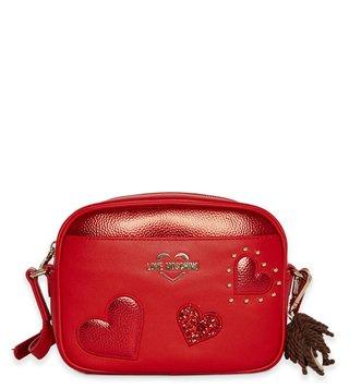9ccfb22a9b111 Love Moschino Rosso Borsa Grain Small Studded Embellishment Cross Body Bag  ...