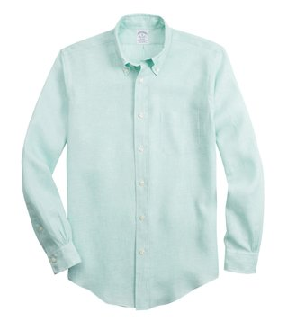 Brooks Brothers Green Irish Linen Regent Fit Shirt
