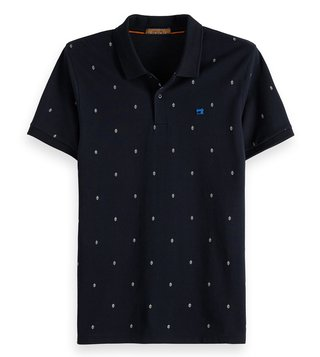 Scotch & Soda Blue Printed Regular Fit Polo T-Shirt