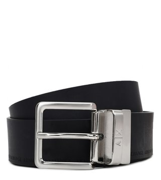 Armani Exchange Navy & Dark Brown Logo Reversible Belt