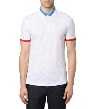 Armani Exchange White Slim Fit Logo Polo T-Shirt