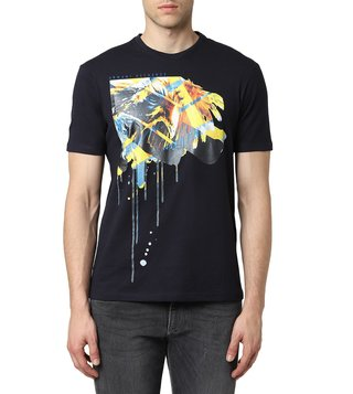 Armani Exchange Navy Regular Fit Printed T-Shirt