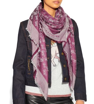 Coach Dark Berry Medium Logo Print Scarf