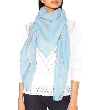 Coach Light Denim Medium Cotton Signature Logo Print Scarf