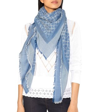 Coach Dark Denim Medium Cotton Signature Logo Print Scarf