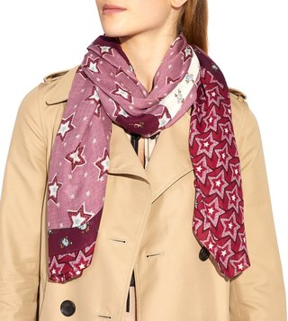 Coach Rose Medium Rayon Floral Print Scarf