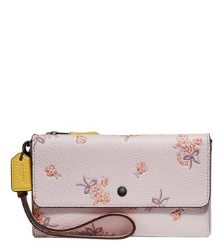 Coach Silver & Multi Small Floral Print Wallet
