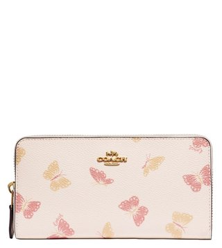 Coach Gold Chalk Accordion Medium Butterfly Printed Zip Around Wallet