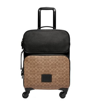 Coach Black Copper & Khaki Academy Signature Logo Carry-On Luggage