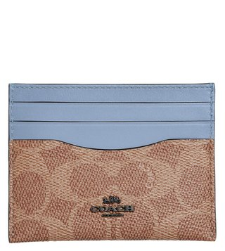 Coach Gunmetal & Tan Medium Signature Logo Card Holder