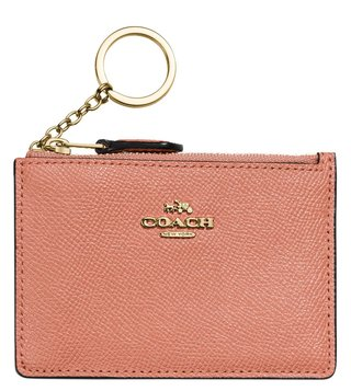 Coach Gold & Light Peach Mini Skinny Card Holder