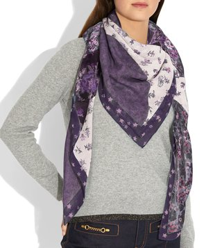 Coach Dusty Lavender Medium Floral Print Scarf