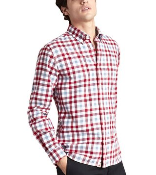 Brooks Brothers Red Fleece Slim Fit Red & White Twill Gingham Sport Shirt