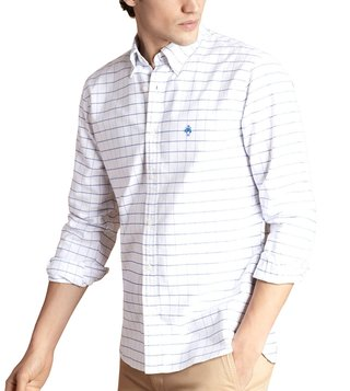 Brooks Brothers Red Fleece Slim Fit White Oxford Windowpane Sport Shirt