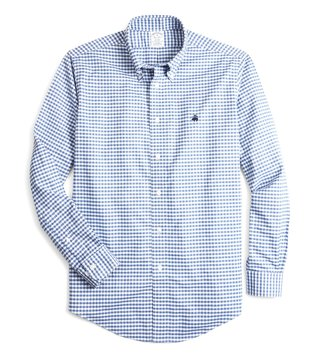 Brooks Brothers Blue Regent Fit Non Iron Oxford Gingham Sport Shirt