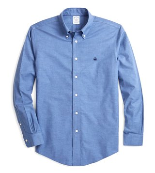 Brooks Brothers Blue Regent Fit Non Iron Oxford Sport Shirt