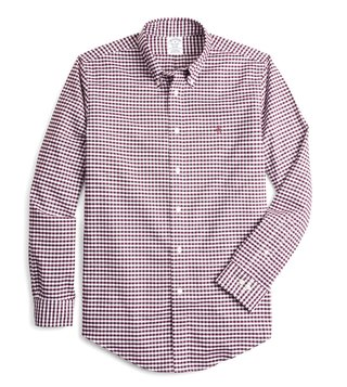 Brooks Brothers Dark Red Regent Fit Non Iron Oxford Fig Gingham Sport Shirt
