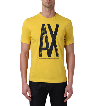 Armani Exchange Ceylon Yellow Regular Fit Logo Crew T-Shirt