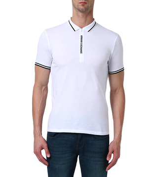 Armani Exchange White Slim Fit Polo T-Shirt