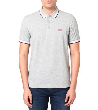 BOSS Open Grey Regular Fit Paddy Polo T-Shirt