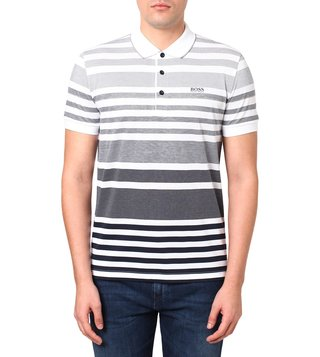 BOSS Navy Regular Fit Paddy Striped Polo T-Shirt