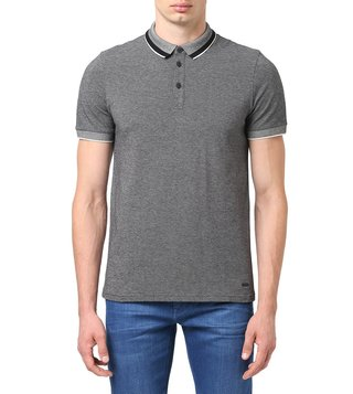 BOSS Black Regular Fit Prend Allover Structure Polo T-Shirt